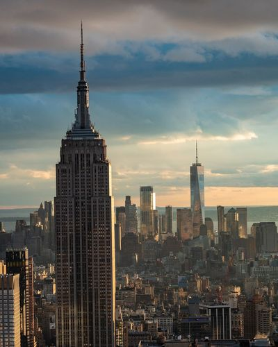 Travel Photography New York City Empire State Building One World Trade Center USA Photography Clouds And Sky Travel Photography Micro Four Thirds Illuminated Modern Skyscraper Business Aerial View