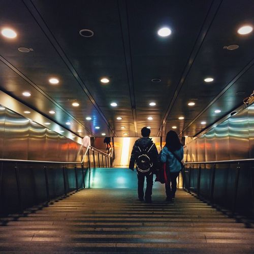 Blurred motion of woman in subway