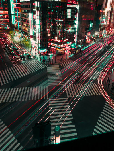 LIGHTs Cars City Street Ginza Tokyo Japan Tokyo,Japan Traffic Jam Architecture Backgrounds Building Exterior Built Structure City City Life City Street Cityscape High Angle View Illuminated Light Trail Night No People Outdoors Road Street Traffic Lights Transportation Travel Destinations Zebra Crossing Stories From The City