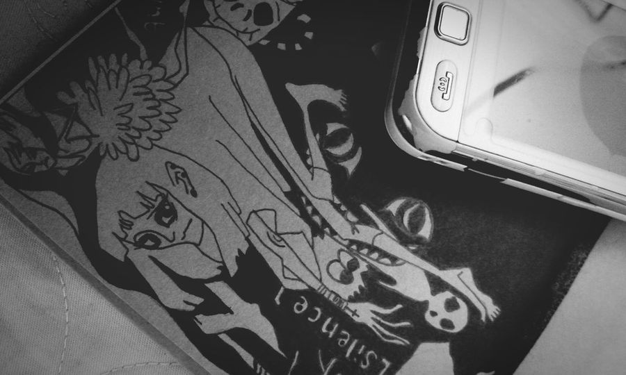 Oldphone Olddrawing Dark Bored Drawing