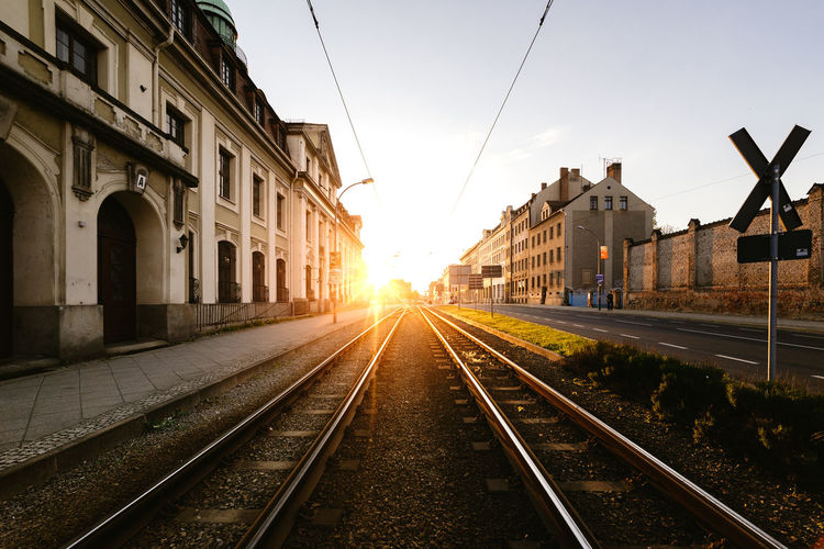 Beautiful metre gauge tramway Architecture Built Structure City City Life Diminishing Perspective Empty Light No People Outdoors Public Transportation Rail Transportation Railroad Track Railway Track Sky Sun Sunbeam Sunlight Sunlight Sunset Sunshine The Street Photographer - 2016 EyeEm Awards The Way Forward Tram Tramway Vanishing Point