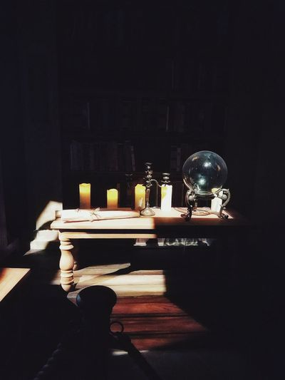 Table Indoors  No People Night Black Background Magical Crystal Ball Books Spell Candle Wizardry Creative Space