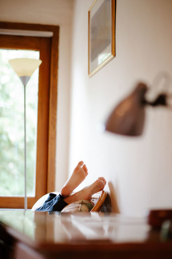 Feet up in a cottage. travel relaxation close to nature