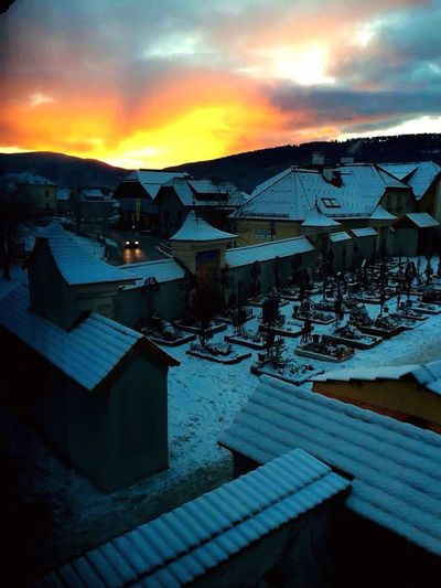 Sunset Village Austria Snow Mountains Sun Mariapfarr Cemetery Beautiful Landscape
