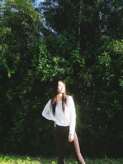 Fashion Ootd Vogue One Person Standing Front View Casual Clothing Real People Tree Long Hair Outdoors Day Forest Young Adult Beautiful Woman Young Women Nature People Portrait