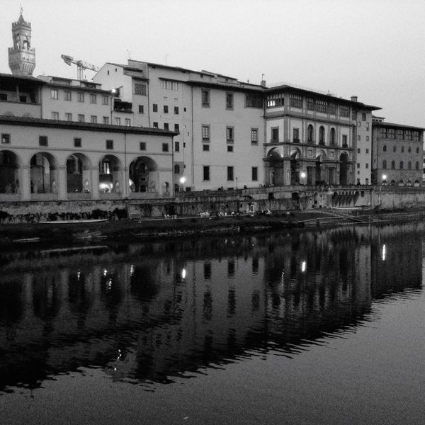 Urban Reflections Arquitecture Old Town Black & White River Mirror Night Lights