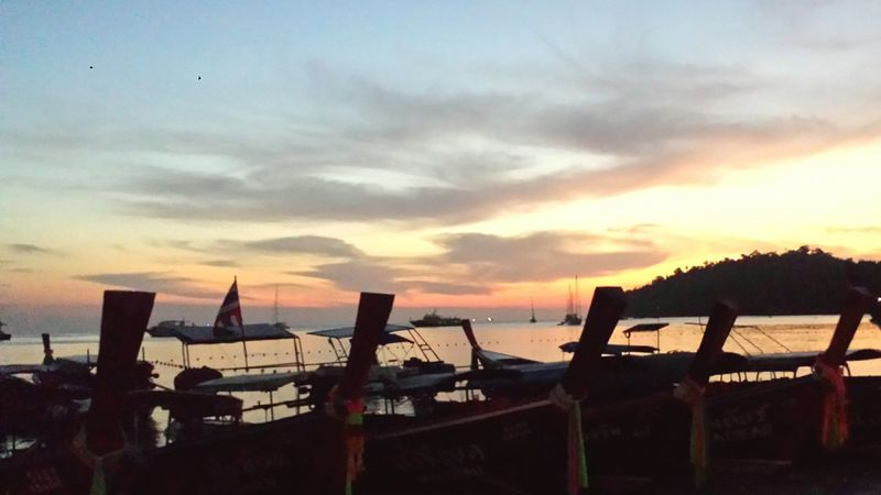 Sunsets on Ko Lipe - always so beatiful! Sunset_collection Sunset Silhouettes Boats Traveling Tranquility Sea And Sky