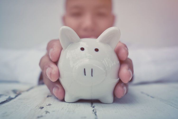 Close-up Day Finance Human Hand Indoors  One Person People Piggy Bank Savings Smiling