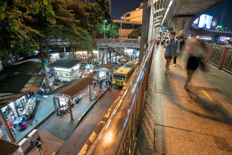 Transportation City Street Group Of People Crowd Mode Of Transportation Road Motion Illuminated Night Large Group Of People High Angle View Incidental People Architecture Real People Blurred Motion City Life Tree Car Consumerism Thailand Travel Destinations Travel Photography Thailandtravel