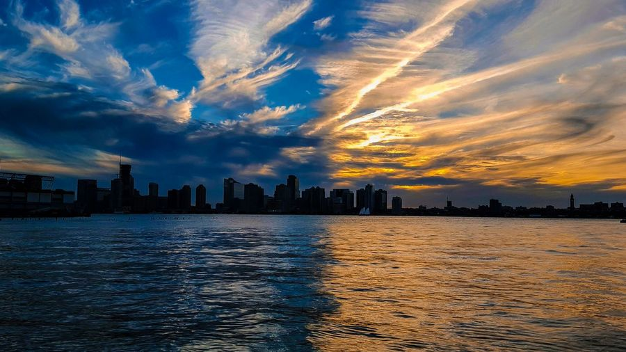 New Jersey Sunset. Taken from New York City west side of Manhattan. Blue and Golden Skies