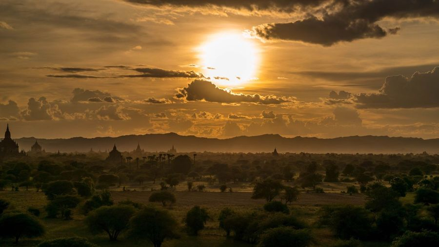 Scenic view bagan archaeological zone against sky during sunset