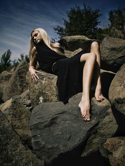 Relaxing Girl Black Dress Blonde Blonde Girl Blonde Hair Nature Sky Stones
