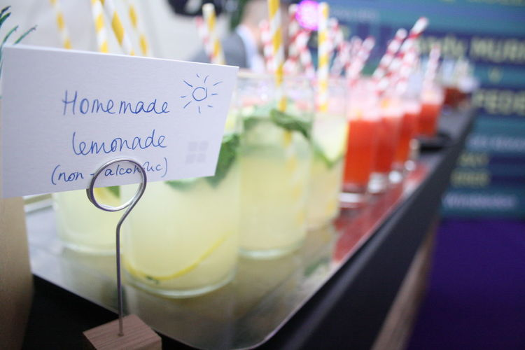 Close-up Communication Day Drink Food And Drink Freshness Homemade Lemonade Indoors  No People Non Alcoholic Paper Table Text Western Script Wimbledon Wimbledon Theme Sommergefühle