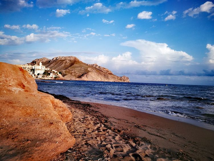 Sea Beach Rock - Object Sand Horizon Over Water Cloud - Sky Vacations Nature Travel Destinations Landscape Scenics Sky Outdoors Water Tranquility Sunset No People Wave Day Beauty In Nature aguilas relax VERANO 2017