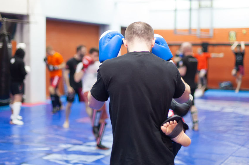 Group boxing lessons Action Activity Athlete Back Boxing Competition Concentration Defense Gloves Group Kickboxing Male Match - Sport Men People Practice Professional Sport Punching Shape Sport Standing Strong Team Trainer Training