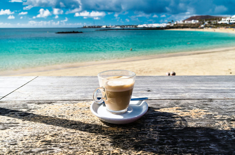 Canary Islands Lanzarote Playa Blanca Las Palmas SPAIN Water Sea Frothy Drink Drink Beach Sand Drinking Glass Relaxation Coffee Break Heat - Temperature My Best Photo