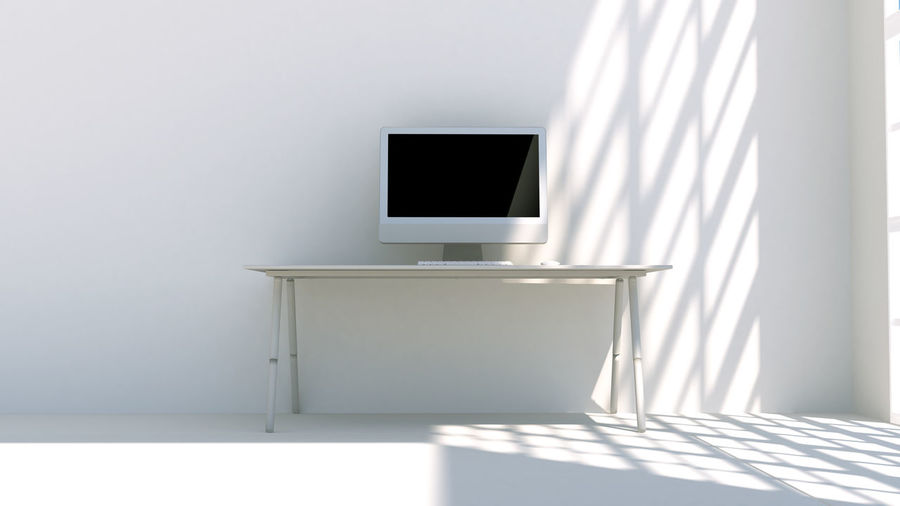 Absence Architecture Blank Computer Copy Space Day Domestic Room Empty Flat Screen Flooring Furniture Home Interior Indoors  Modern No People Seat Shadow Table Technology Wall - Building Feature White Color