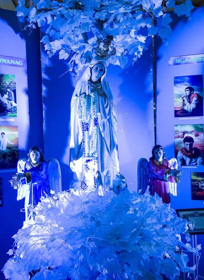 Our Lady of Fatima Blue Indoors  Real People Illuminated One Person Day People Our Lady Of Fatima Mother Mary