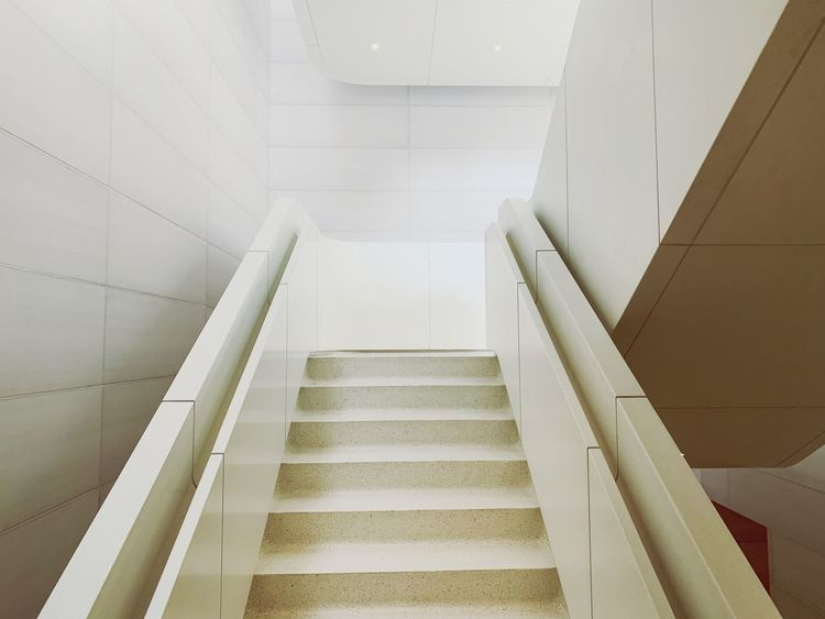Apple Park // stairs Staircase Steps And Staircases Architecture Railing The Way Forward Indoors  Low Angle View Built Structure Modern Ceiling
