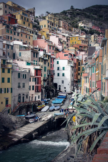 Cinque Terre Colored Houses Harbor Mediterranean Sea Architecture Building Building Exterior Built Structure Car City Crowd Day High Angle View House Incidental People Nature Outdoors Residential District Town TOWNSCAPE Transportation Water