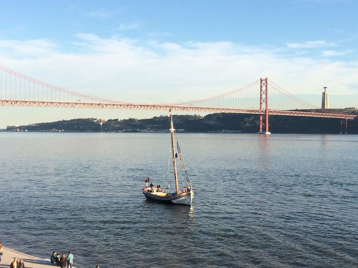 View from MAAT Lisbon Maat Riotejo Suspension Bridge Sky Bridge - Man Made Structure Transportation Connection Boat Water Engineering Travel Travel Destinations Outdoors Built Structure Waterfront Day Architecture Nature Happy