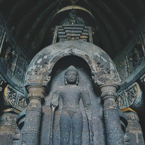 From the Ajanta Caves, Standing Buddha on the tall stupa from the cave no. 19 which is a Chaitya Gathering Hall for worship. Vscocam Buddha _soi India Voyagediaries Unesco Afadingworld Madeforsquare Aurangabad Photooftheday Instaindia Igers Igersindia Igersworldwide