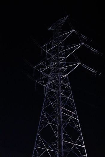Low Angle View Night Sky No People Technology Connection Built Structure Electricity Pylon