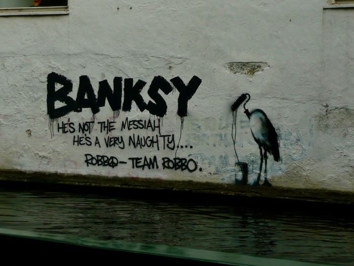 Banksy v. Team Robbo - London Text Water Animal Themes No People Day Architecture Outdoors Wall Architecture Travel Travel Destinations Tourism Tourist Attraction  London Canal Art ArtWork Banksy Banksyart Team Robbo Robbo EyeEmNewHere