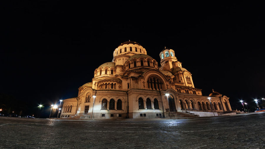 Low angle view of illuminated cathedral