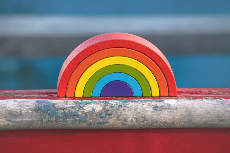 Close-up of multi colored rainbow on table