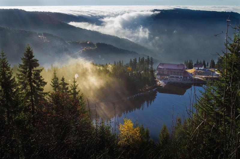 Mountain Morning Foggy Fog Germany Deutschland Schwarzwald Blackforest Nationalpark Nordschwarzwald Landscape Landschaft Nebel Nature Natur Beauty In Nature Tourism Travel Mummelsee Hornisgrinde Sun Mummelseeblick Seebach Ottenhöfen
