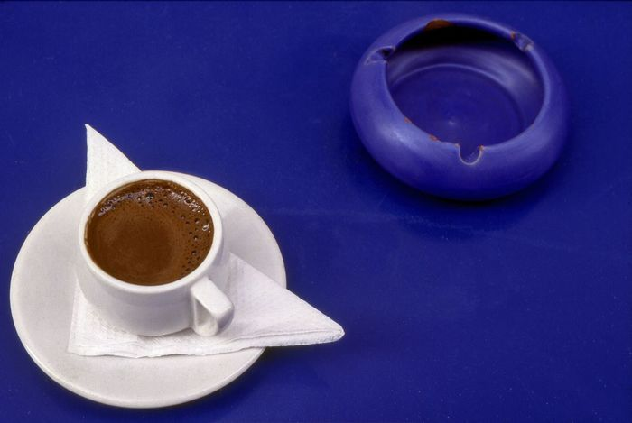A Cup of Greek Coffee Aromatic Ashtray  Blue Table Caffiene Ceramic Chania Crete Close-up Coffee - Drink Coffee Cup Crete Greece Cup Day Drink Food And Drink Freshness Frothy Drink Graphic High Angle View Metalic No People Refreshment Saucer Table Tabletop Travel Photography