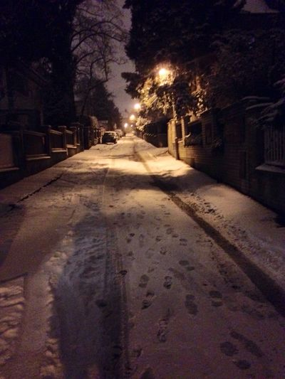 Snowy Scene Snow ❄ Snow Street Romantic Still Life Streetphotography No People Night Lights My Street Photography Night Nightshot Misterious The City Light Winter Illuminated