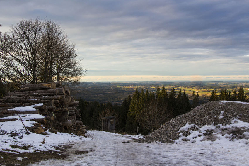 view from Peißenberg Bare Tree Beauty In Nature Cloud - Sky Cold Temperature Day Landscape Nature No People Outdoors Scenics Sky Snow Tranquil Scene Tranquility Tree Weather Winter