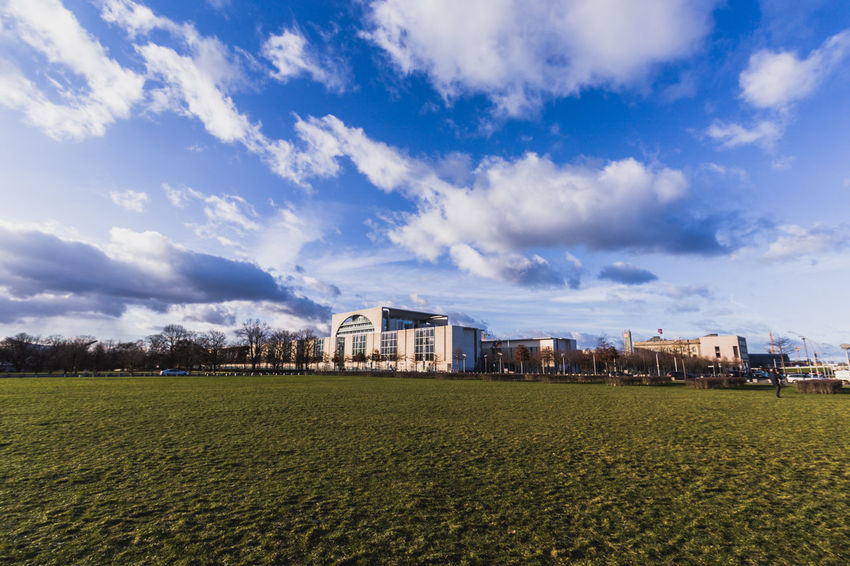 Berlin Architecture Building Building Exterior Built Structure Cloud - Sky Day Environment Field Germany Grass Green Color House Land Landscape Nature No People Outdoors Plant Residential District Sky Tranquil Scene