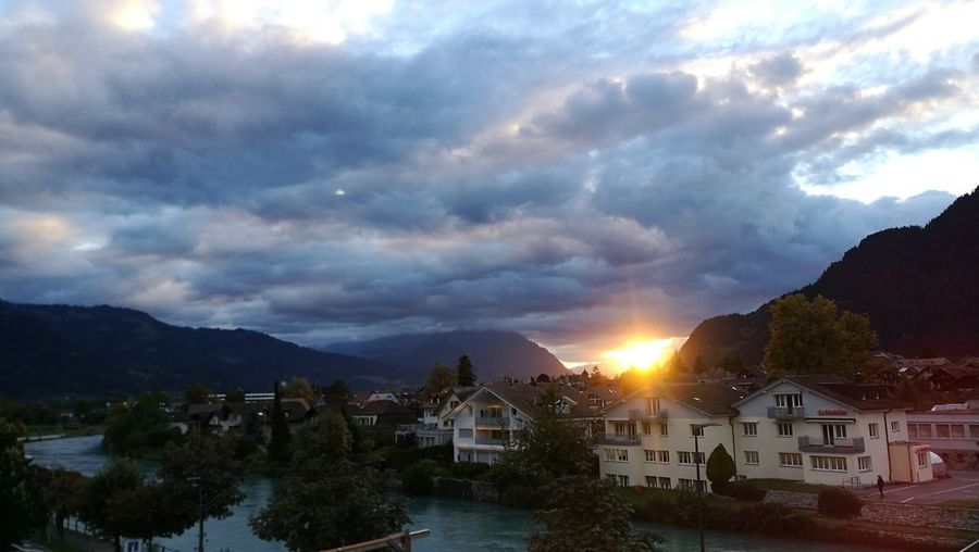 Switzerland Eye4photography  Reflections Berner Oberland EyeEm Selects Bernese Oberland Tree Mountain Cityscape Tree Area Sunset Illuminated Water Blue Summer Star - Space