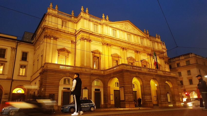 Teatro alla scala Architecture Building Exterior Built Structure City Car Transportation Outdoors Low Angle View Illuminated Clear Sky Night Sky No People Teatroallascala Teatro Teatre
