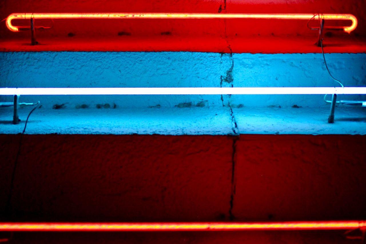 Close-up of illuminated lights on steps