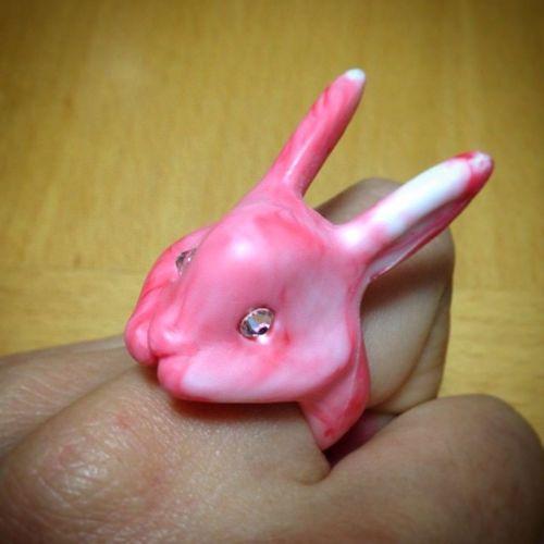 Cute Rabbit Ring あおぞらクラフトいち 血まめ天国