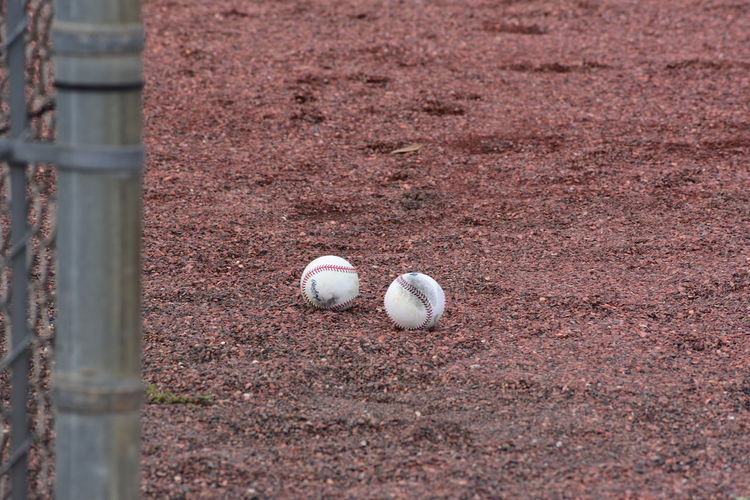 High angle view of ball on field