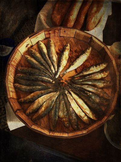 Herrings Sardines Indoors  Close-up Still Life No People Pattern Shape Design Circle High Angle View Food And Drink