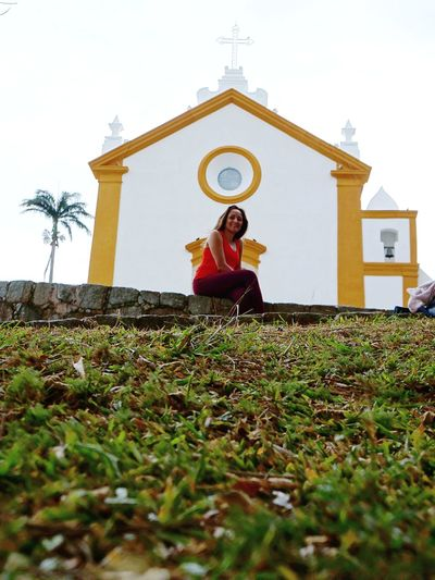 Church Front View Adult One Woman Only Only Women Portrait People One Person Sitting Day Low Angle View Sky Architecture Connected By Travel Brasil ♥ Sul Travel Destinations Florianópolis Vacations Con6 South Church Faith Faith In God
