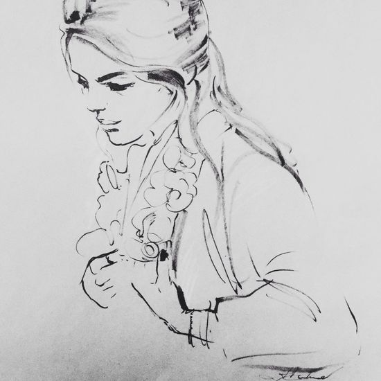 Brush and ink drawing on paper, portrait of H Drawing ArtWork Artist Art Portrait Of A Woman Art, Drawing, Creativity Portrait Of A Friend Blackdrawing Blackandwhite Drawings Sketch
