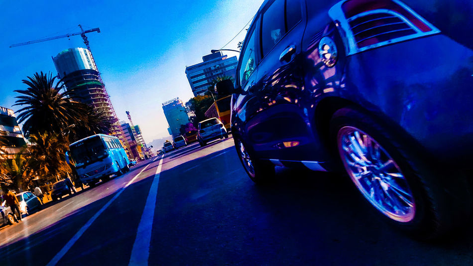 Transportation Transport Addis Ababa Colours Colourful Car Low Angle View Road Sky City