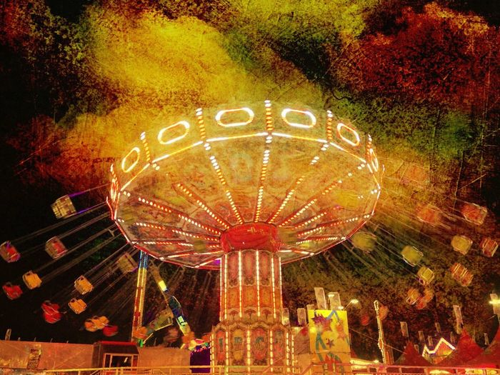SwingTime. Check This Out Taking Photos Having Fun County Fair Fairground Rides At Fair Rides Swings Outdoor Photography Outdoors l Nightphotography Night Lights IPhoneography Flashy Lights