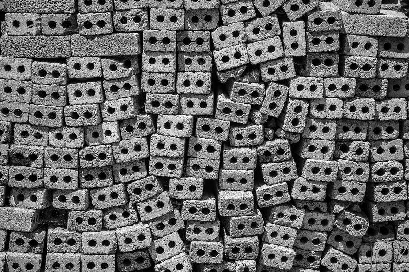 Full frame shot of terracotta bricks