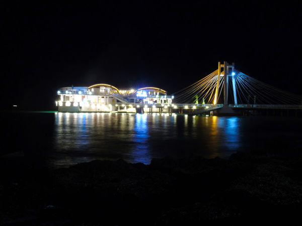 Be. Ready. Night Illuminated Architecture Travel Destinations Bridge - Man Made Structure Connection Arts Culture And Entertainment No People Built Structure Nightlife Outdoors Cityscape Water Sky Building Exterior Durres Albania Long Exposure Photography Backgrounds Sea City Architecture Mobility In Mega Cities