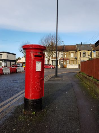 British Post Box Red Post Box London Streets Red Sky Road No People Outdoors Day Architecture