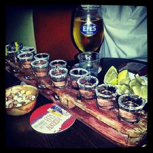 Bizde kışları sulu, yazları kuru geçer :) Olmeca Tequila Lemon Salt efes beer taksim night friend