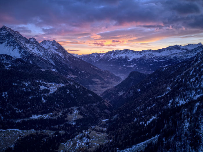 Drone  Poschiavo Aerial Photography Beauty In Nature Cold Temperature Day Dronephotography Landscape Mountain Mountain Range Nature No People Outdoors Range Scenery Scenics Sky Snow Sunset Tranquil Scene